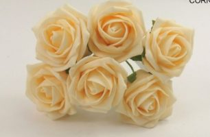 YF43CS - QUALITY COTTAGE ROSE IN CORN SILK COLOURFAST FOAM- BUY 60 BUNCHES AND PAY £1.15 A BUNCH