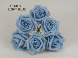 YF43LB - QUALITY  COTTAGE ROSE IN LIGHT BLUE COLOURFAST FOAM- BUY 60 BUNCHES AND PAY £1.15 A BUNCH