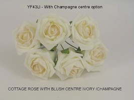 YFB43LICM  6 x 6 CM IVORY COTTAGE ROSE WITH A CHAMPAGNE CENTRE IN COLOURFAST FOAM