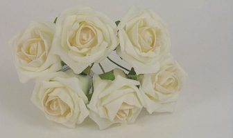 YFB43LIVM 6 x 6 CM IVORY COTTAGE ROSE WITH A CHAMPAGNE CENTRE IN COLOURFAST FOAM