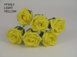 YF43LY  QUALITY COTTAGE ROSE IN LIGHT YELLOW COLOURFAST FOAM