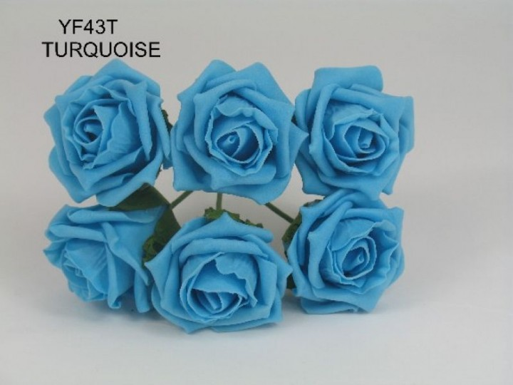 YF43T QUALITY COTTAGE ROSE IN TURQUOISE COLOURFAST FOAM