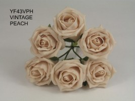 YF43VPH  QUALITY COTTAGE ROSE IN VINTAGE PEACH COLOURFAST FOAM- BUY 60 BUNCHES AND PAY ONLY £1.15 A BUNCH