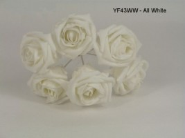 YF43WW QUALITY COTTAGE ROSE IN ALL WHITE COLOURFAST FOAM