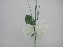 YF60W  DOUBLE ROSE CORSAGE IN WHITE