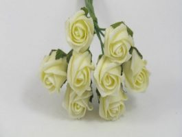 YF72LE  ROSEBUDS IN LEMON COLOURFAST FOAM 8 X 3 CM