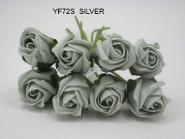 YF72S  ROSEBUDS IN SILVER GREY COLOURFAST FOAM 8 X 3 CM