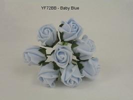YF72BB   ROSEBUDS IN BABY BLUE COLOURFAST FOAM 8 X 3 CM