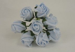 YF72BB   ROSEBUDS IN BABY BLUE COLOURFAST FOAM 8 X 3 CM