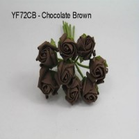 YF72CH  ROSEBUDS IN CHOCOLATE COLOURFAST FOAM 8 X 3 CM