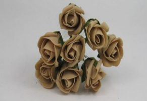 YF72CF  ROSEBUDS IN COFFEE COLOURFAST FOAM 8 X 3 CM  REDUCED TO CLEAR