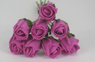 YF72DP  ROSEBUDS IN DARK PINK COLOURFAST FOAM 8 X 3CM