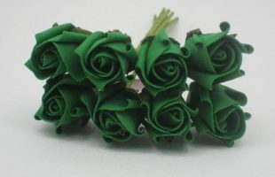 YF72E ROSEBUDS IN EMERALD GREEN COLOURFAST FOAM 8 X 3 CM