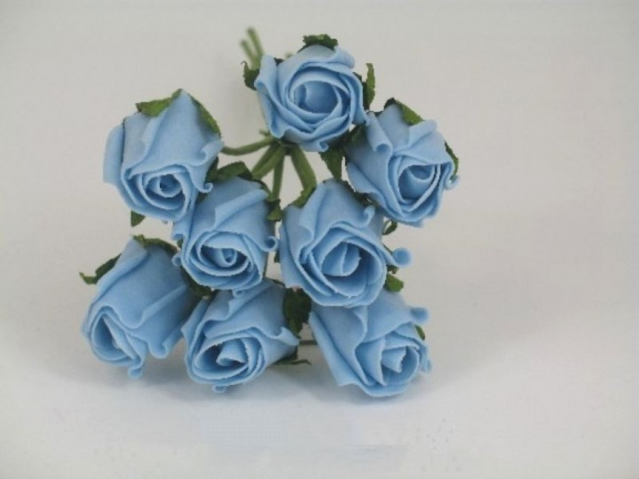 YF72LB  ROSEBUDS IN LIGHT BLUE COLOURFAST FOAM 8 X 3 CM