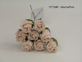 YF72MP  ROSEBUDS IN MOCHA PINK COLOURFAST FOAM 8 X 3 CM