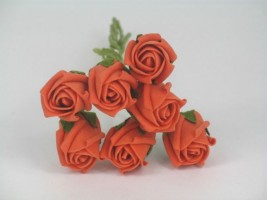 YF72OR ROSEBUDS IN ORANGE COLOURFAST FOAM 8 X 3 CM