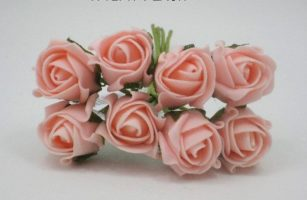 YF72PH  ROSEBUDS IN PEACH COLOURFAST FOAM 8 X 3 CM