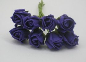 YF72PP  ROSEBUDS IN CADBURYS PURPLE COLOURFAST FOAM 8 X 3 CM
