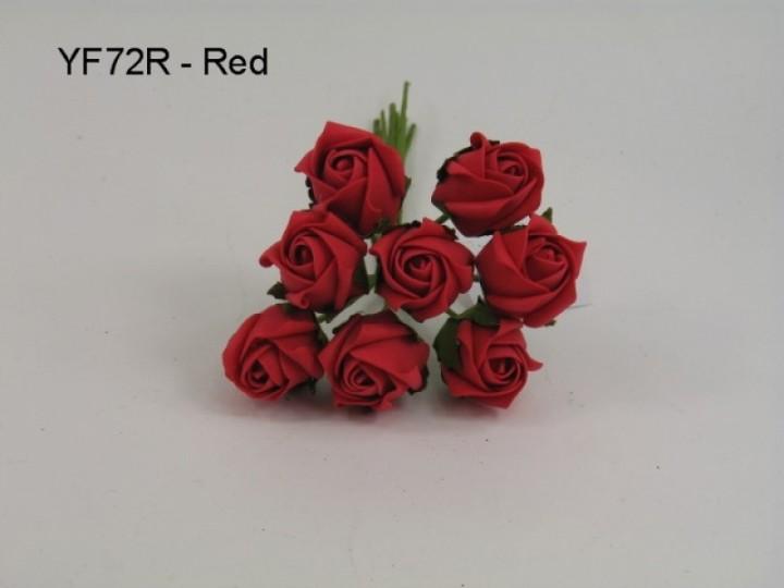 YF72R  ROSEBUDS IN RED COLOURFAST FOAM 8 X 3 CM
