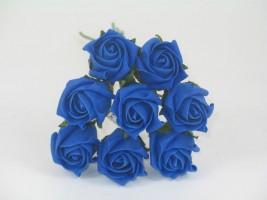 YF72RY  ROSEBUDS IN ROYAL BLUE COLOURFAST FOAM 8 X 3 CM