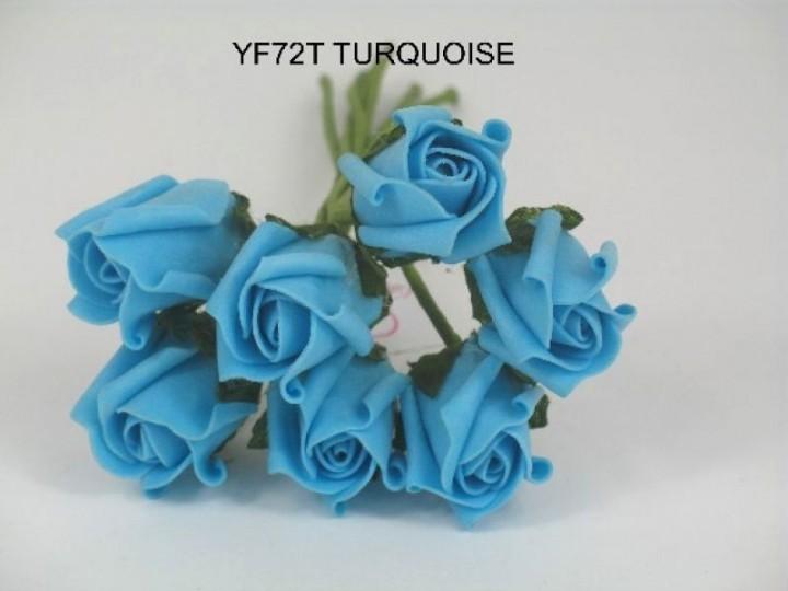 YF72T  ROSEBUDS IN TURQUOISE COLOURFAST FOAM 8 X 3 CM