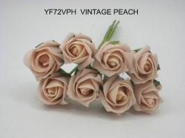 YF72VPH ROSEBUDS IN VINTAGE PEACH COLOURFAST FOAM 8 X 3 CM