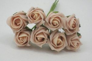 YF72VPH ROSEBUDS IN VINTAGE PEACH COLOURFAST FOAM 8 X 3 CM