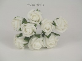 YF72W  ROSEBUDS IN WHITE COLOURFAST FOAM 8 X 3 CM