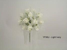 YF90LI  15CM Shimmer Sparkle Posy in Light Ivory Colourfast Foam Roses