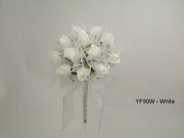 YF90W 15CM Shimmer Sparkle Posy in White Colourfast Foam Roses