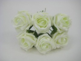 YFB43LIAP 6 X 6 CM IVORY COTTAGE ROSE WITH APPLE GREEN BLUSH CENTRE