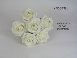YFDC43LI  COTTAGE ROSE IN IVORY WITH A DIAMANTE CENTRE
