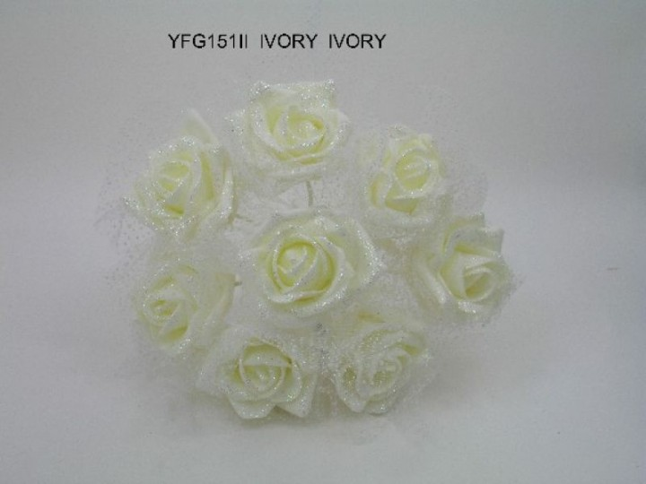 YF151II  8 X GLITTER ROSE BUNCH WITH ORGANZA IN ALL IVORY