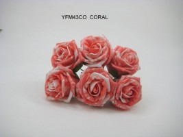 YFM43CO-   6 x COTTAGE ROSE IN MARBLE EFFECT IVORY CORAL COLOURFAST FOAM